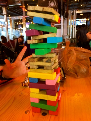 side shot of jenga