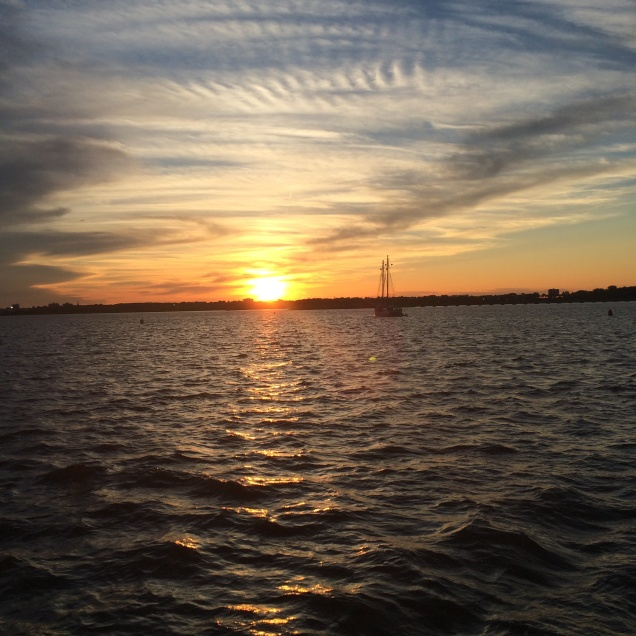 view from boat sunset